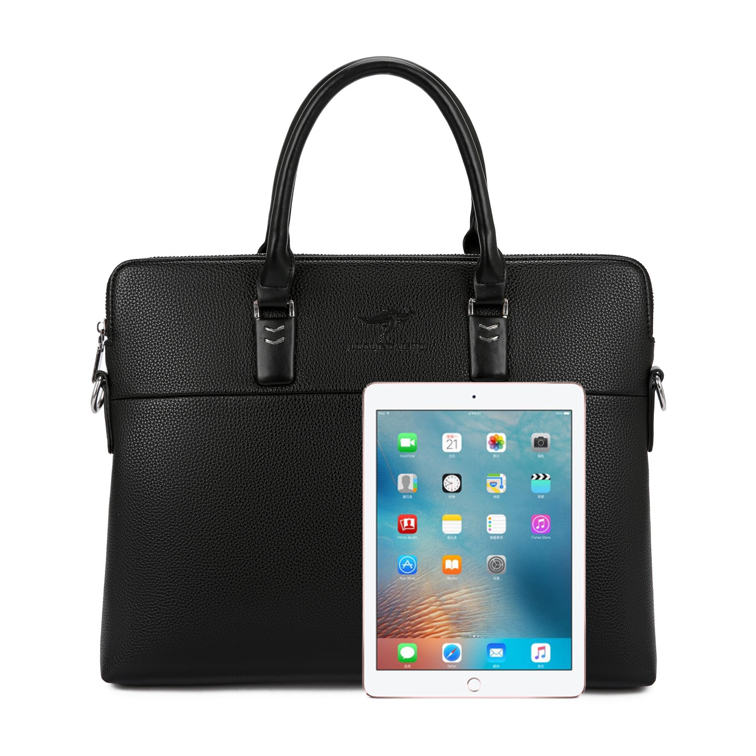 袋鼠男士新款手提包男士包包单肩斜挎韩版公文包商务休闲男款包潮