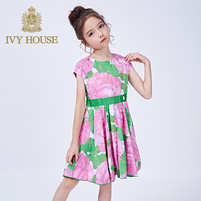 IVY HOUSE常春藤童装女印花棉质连衣裙儿童外出时尚收腰公主裙
