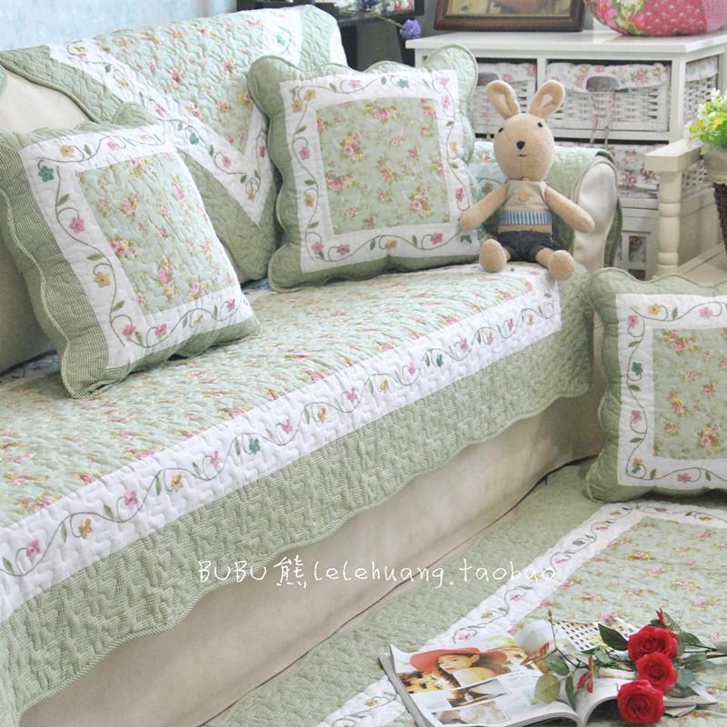 全棉絎縫沙發墊坐墊子防滑布藝加厚田園四季通用純棉皮沙發巾罩套