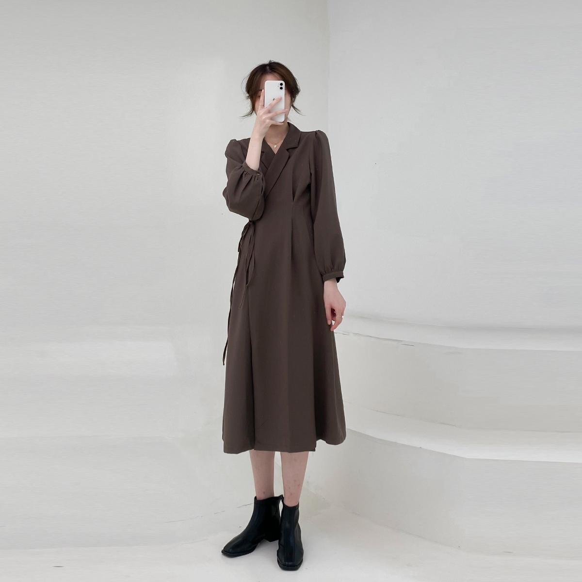 一片式长袖连衣裙子女