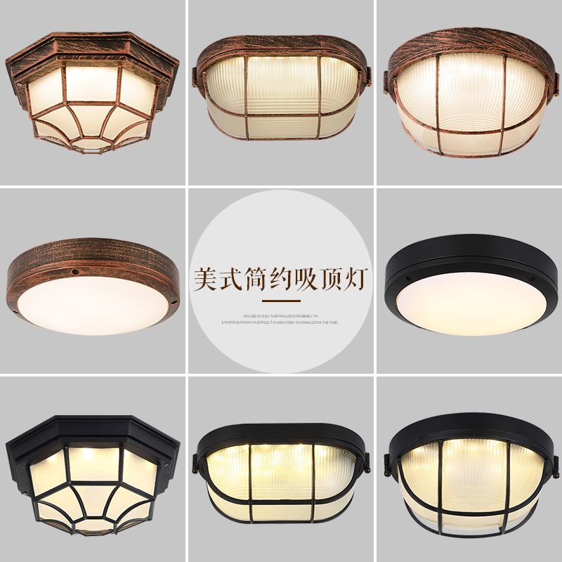 美式乡村客厅复古吸顶灯 工业风阳台过道走廊铁艺led卧室吸顶灯具