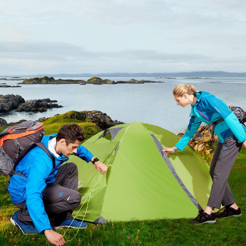 野外露营帐 铝杆轻便防雨 双人双层野营装备套装 2 公狼帐篷户外