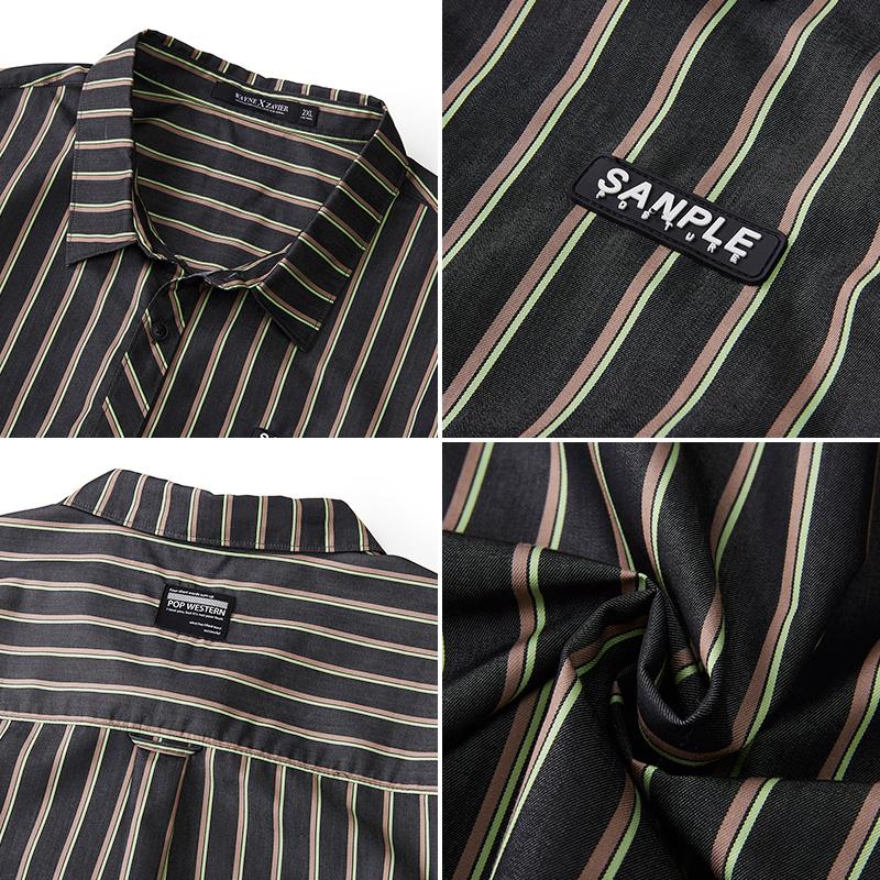 韦恩泽维尔加肥加大商务休闲大码宽松条纹免烫短袖衬衣衬衫男6427