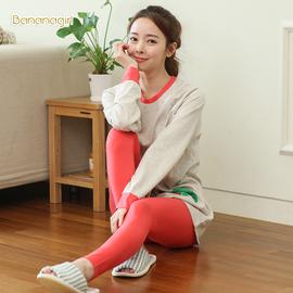 韩版情侣睡衣春秋季男女长袖套装补丁可爱时尚家居服薄款外穿