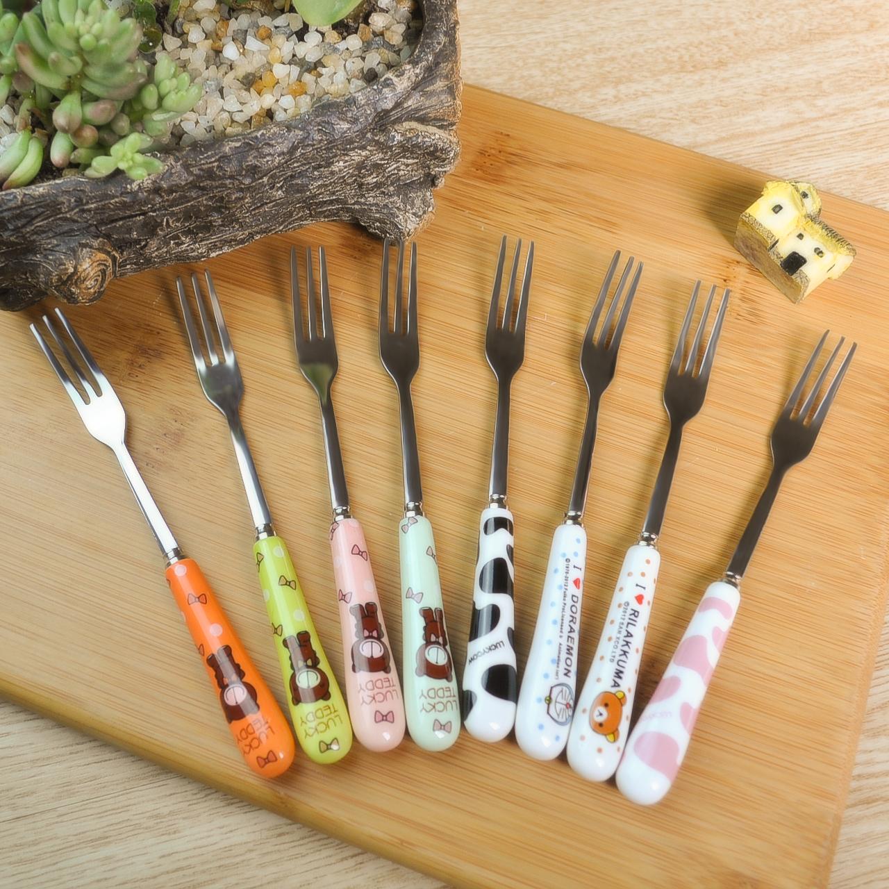創意陶瓷手柄水果叉不鏽鋼時尚水果籤 韓式西餐小叉子甜品點心叉
