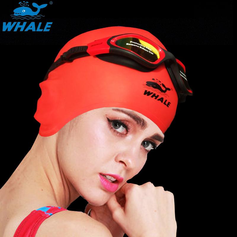 鲸鱼游泳帽男 女长发防水硅胶护耳成人大号泳帽防耳朵进水儿童帽