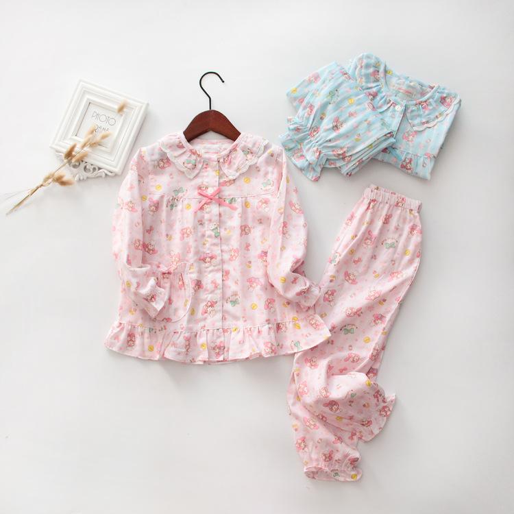 兒童睡衣全純棉紗布美樂蒂melody女孩長袖空調家居服套裝春夏新品