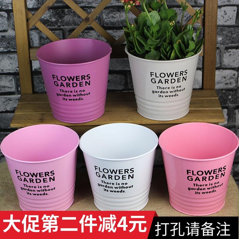 北歐創意綠植綠蘿花盆花卉鐵皮桶餐廳酒吧桌面垃圾店名陽臺花器