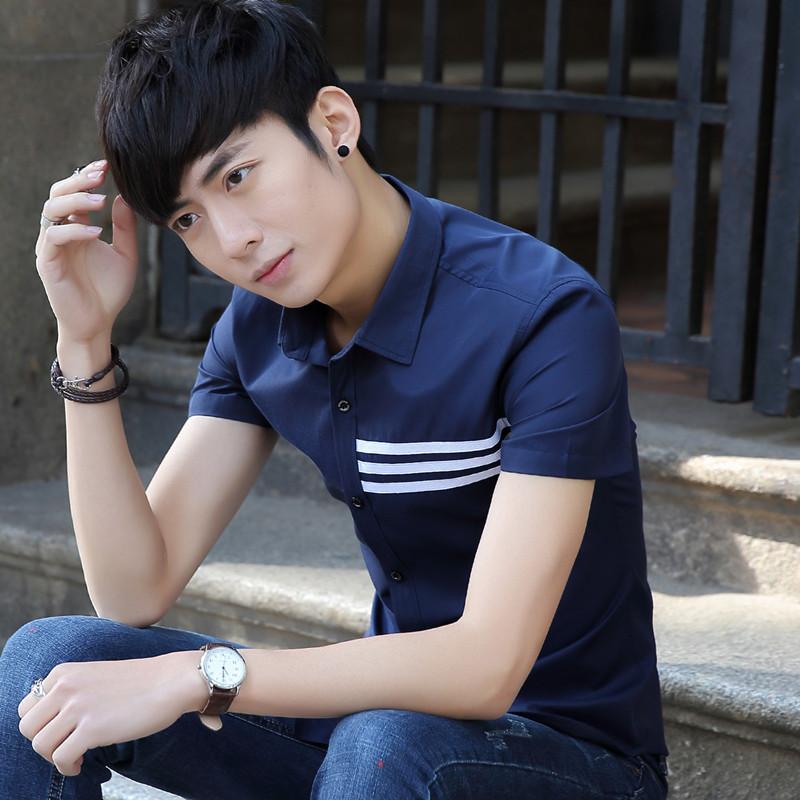 男士短袖衬衫夏季男纯色衬衣修身潮寸衫伴郎青年休闲