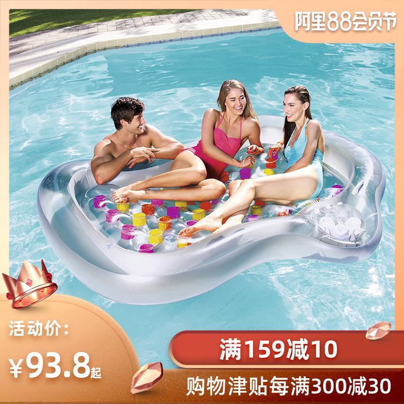 Bestway水上充氣躺椅浮排戶外沙灘躺椅水上浮排浮床充氣坐騎