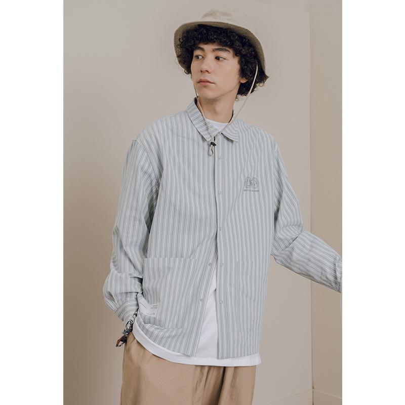 NOTHOMME日系潮牌条纹宽松工装衬衫男士秋季清新长袖衬衣外套