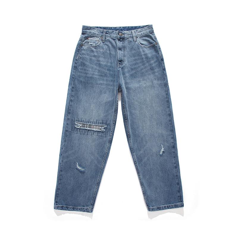 日系潮牌做旧洗水磨破格子拼接牛仔裤男士赤耳直筒长裤子 NOTHOMME