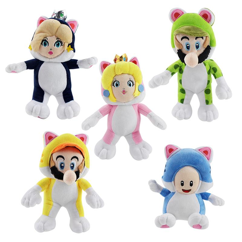 马里奥绿猫路易黄猫玛丽粉猫兰猫公主猫菇人毛绒公仔玩具玩偶娃娃