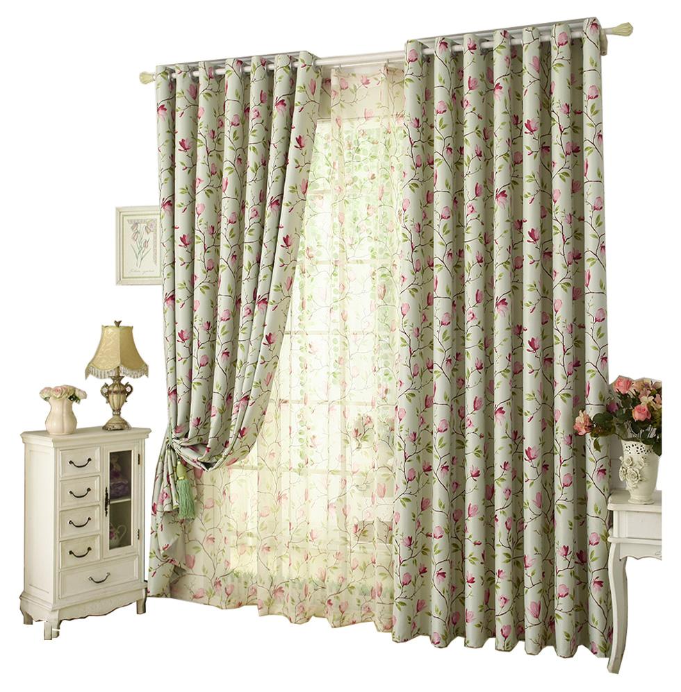 田园风窗帘布成品加厚遮光布料客厅卧室飘窗落地窗帘新款简约现代