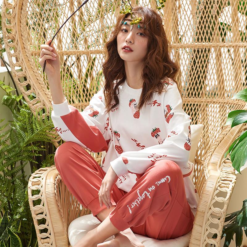 睡衣女春秋纯棉长袖时尚简约韩版卡通少女全棉家居服冬加大码套装