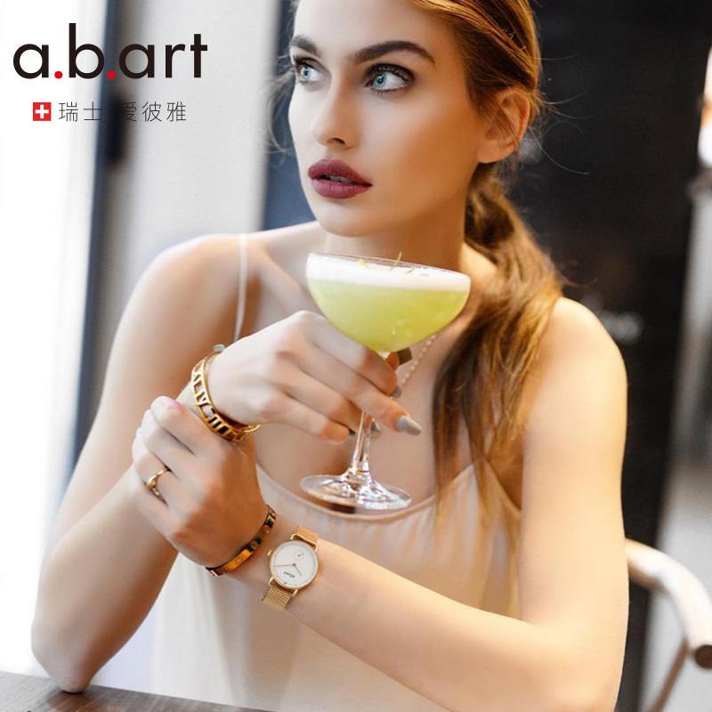 爱彼雅abart瑞士进口钢带手表女石英表时尚潮流女表女士腕表