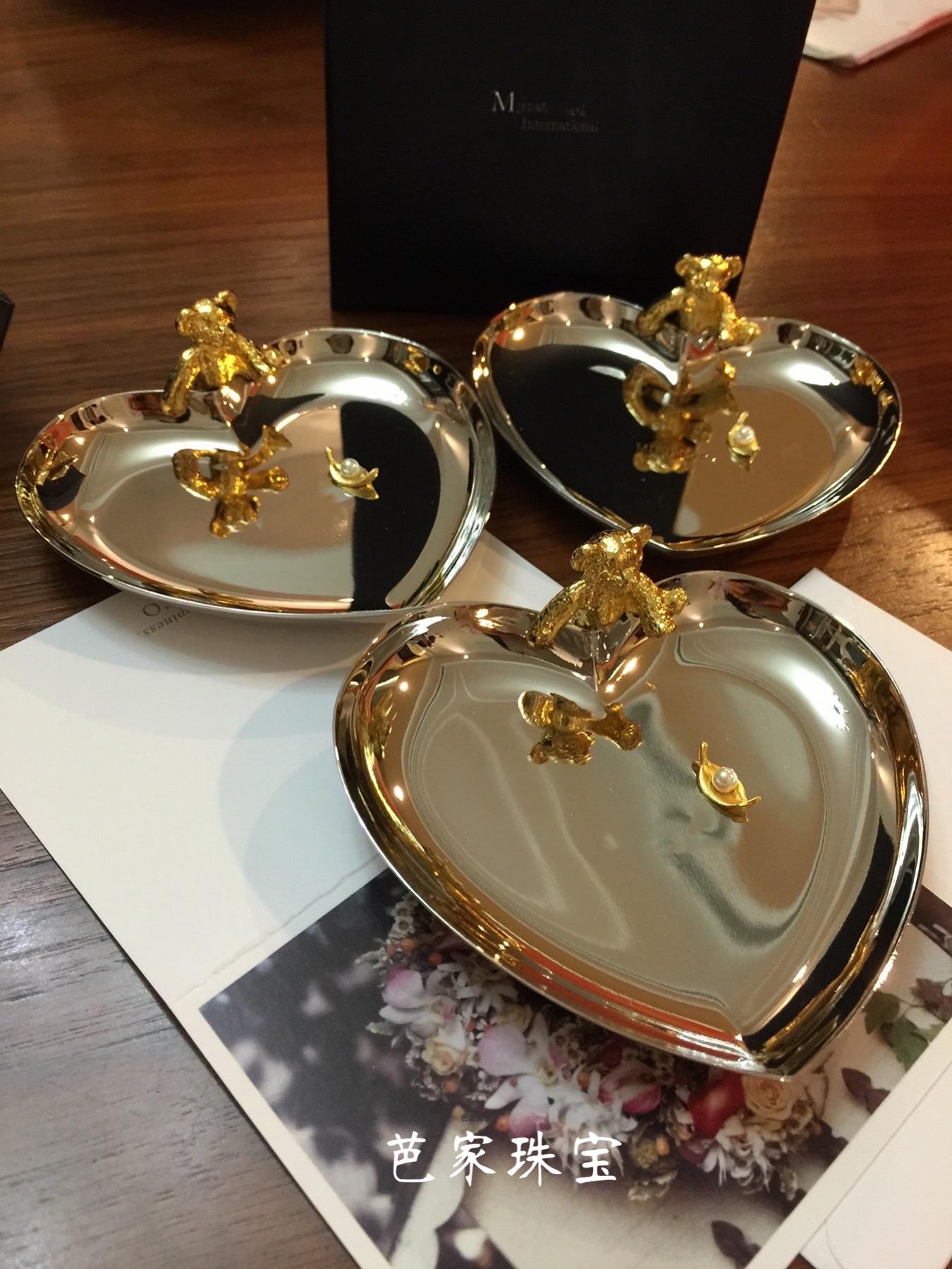 芭家珠宝 M家小熊爱心珍珠首饰盘展示架收纳盒拍摄道具礼品盘子