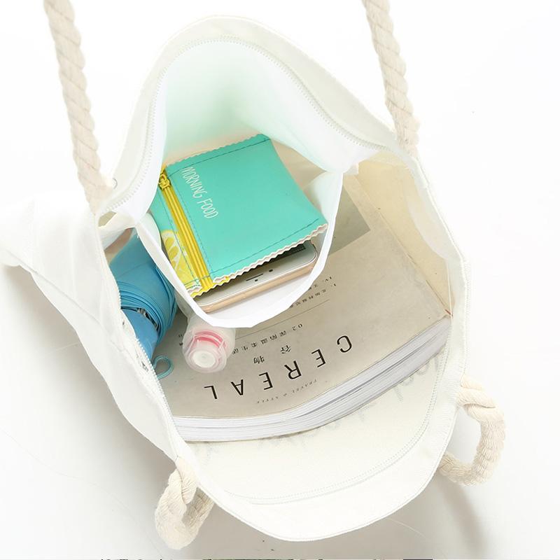 帆布包手提韩版女单肩大容量ins环保简约学生文艺小清新购物袋子