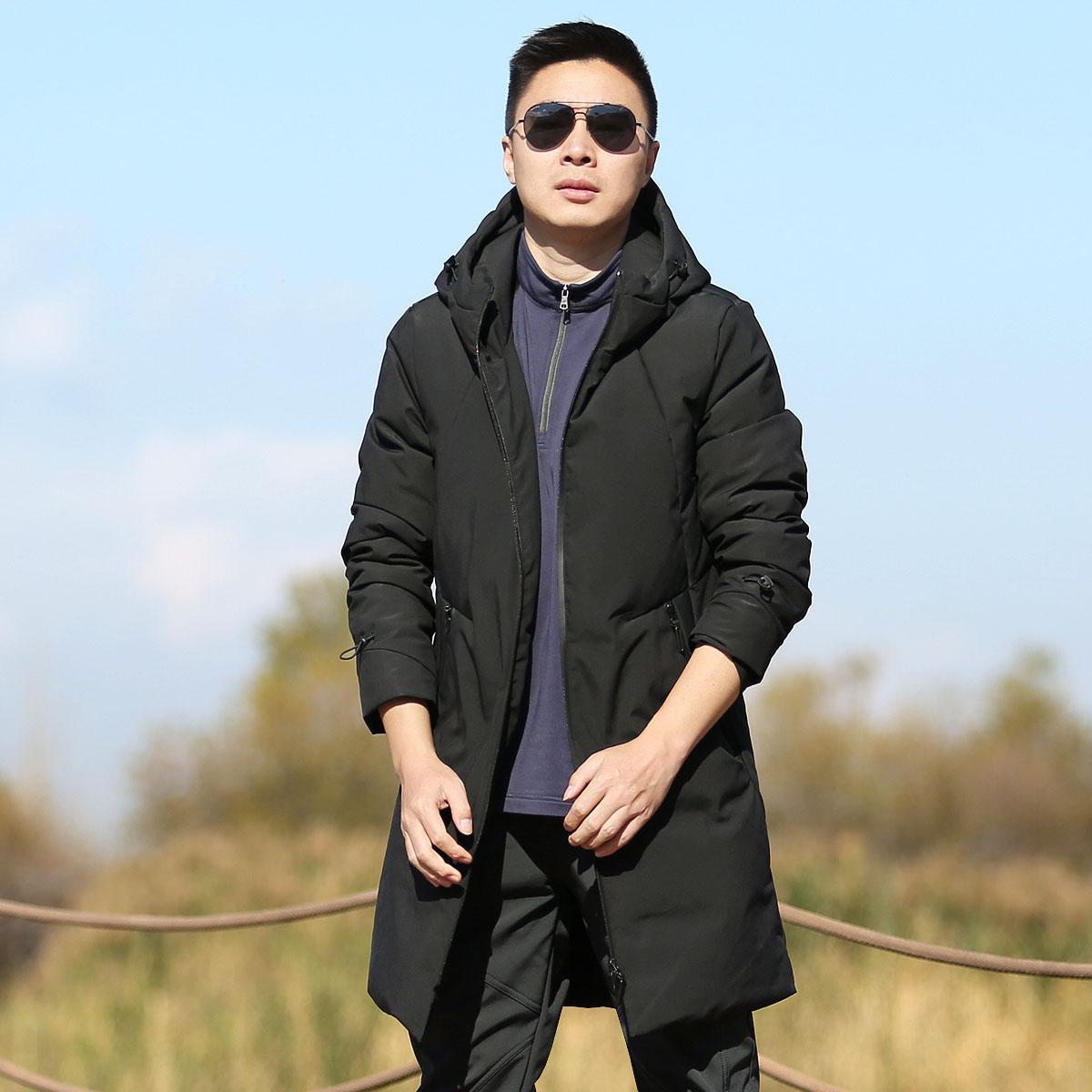 雪丘岛冬季新款纯色羽绒服加厚防风防寒保暖纯色中长款开衫外套男