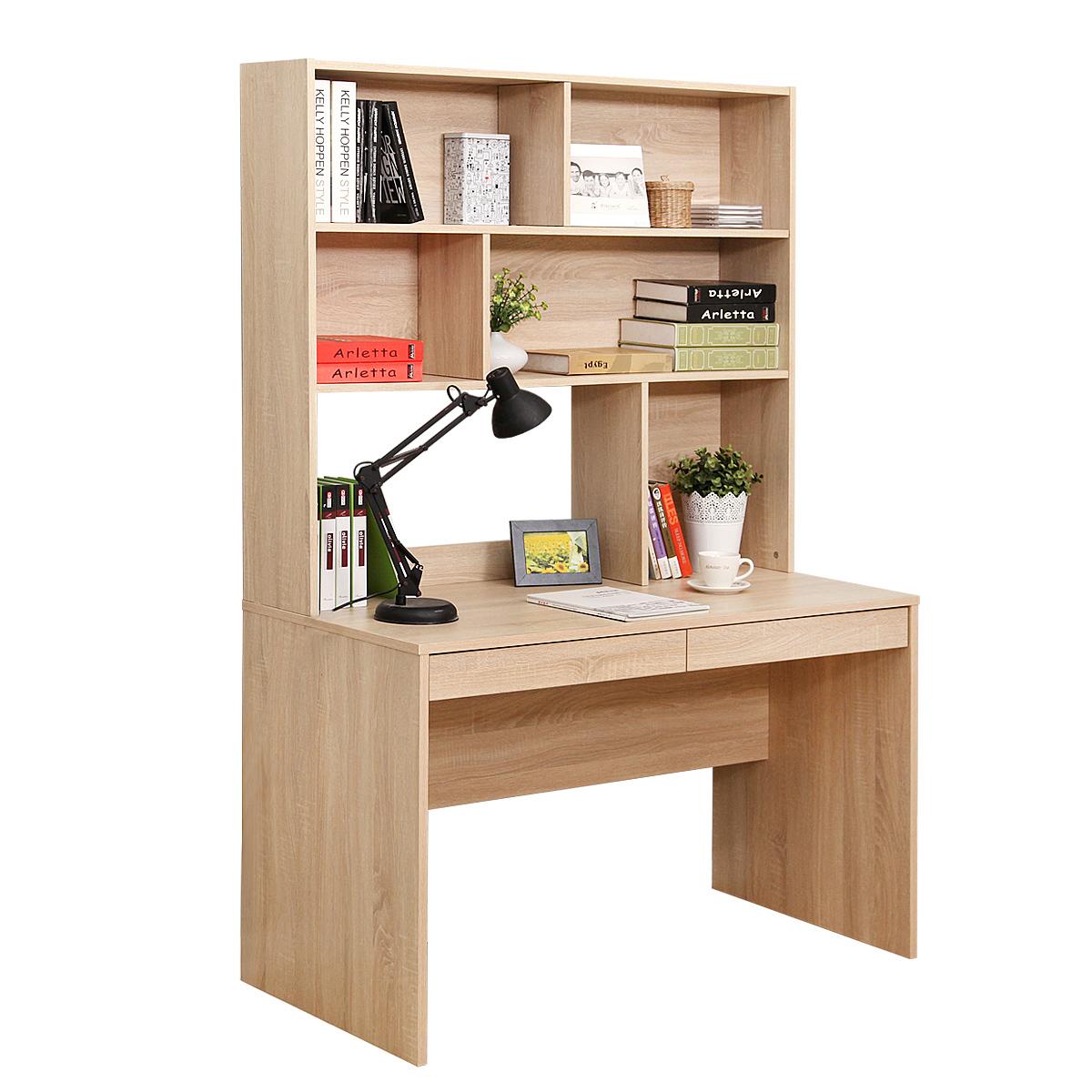 美达斯现代简约连体书桌柜办公桌书柜组合柜电脑桌书架连体写字台