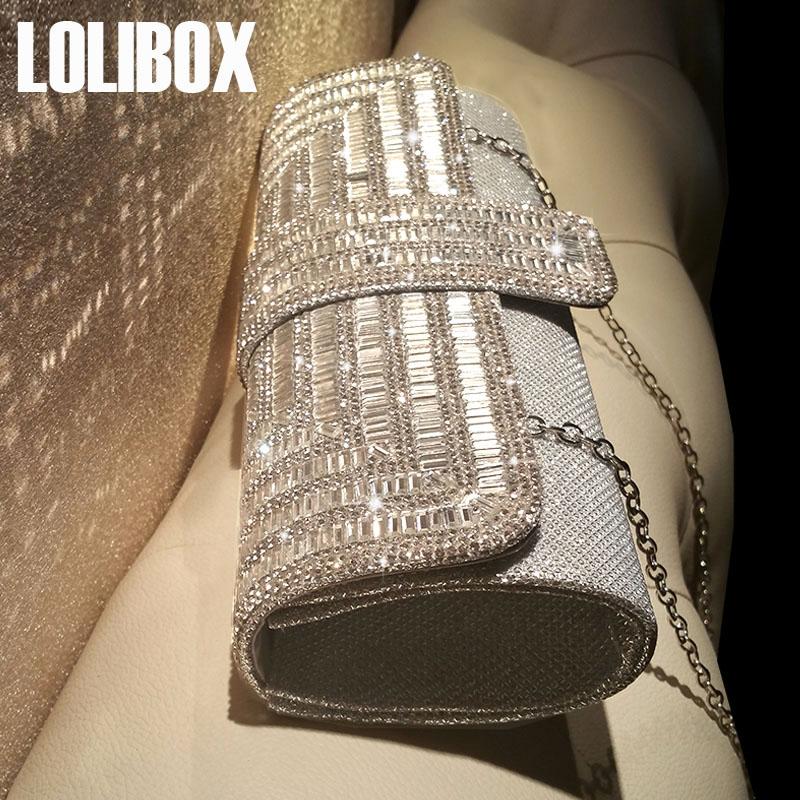 LOLIBOX定製新品水鑽閃光女手拿包鏈條斜跨晚宴禮服包新娘宴會包