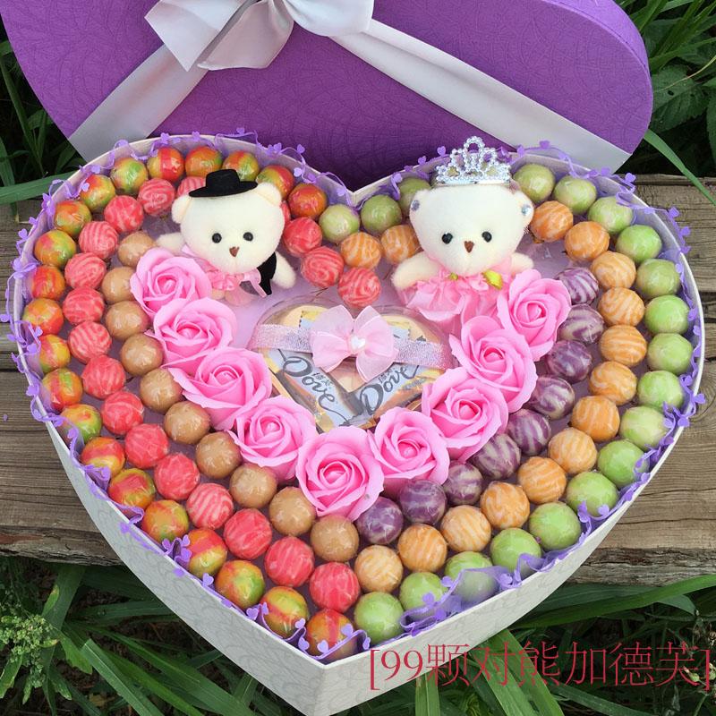 52颗阿尔卑斯棒棒糖果超大礼盒装送男女友生教师节生日礼物创意花
