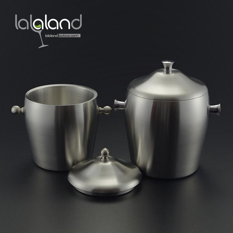 不锈钢鼓形双层保温冰桶双耳提手冰粒桶客房冰桶大号2L小号1L砂光