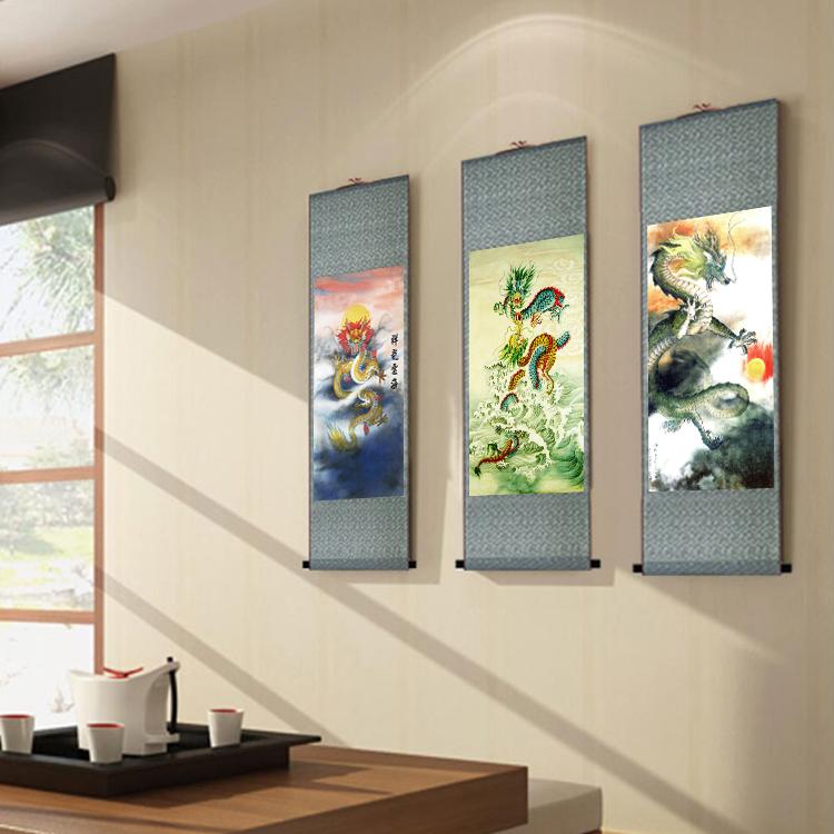 國畫龍圖畫水墨畫金龍戲珠畫 絲綢玄關掛畫 鯉魚跳龍門客廳裝飾畫