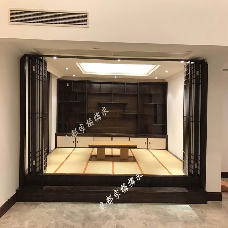 榻榻米格子门折叠门障子纸门隔断门屏风日式料理店门实木移门定制