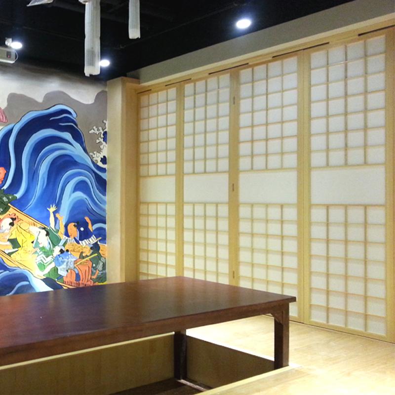 榻榻米松木和室格子门窗 日式屏风隔断日式料理店包厢格子门定制