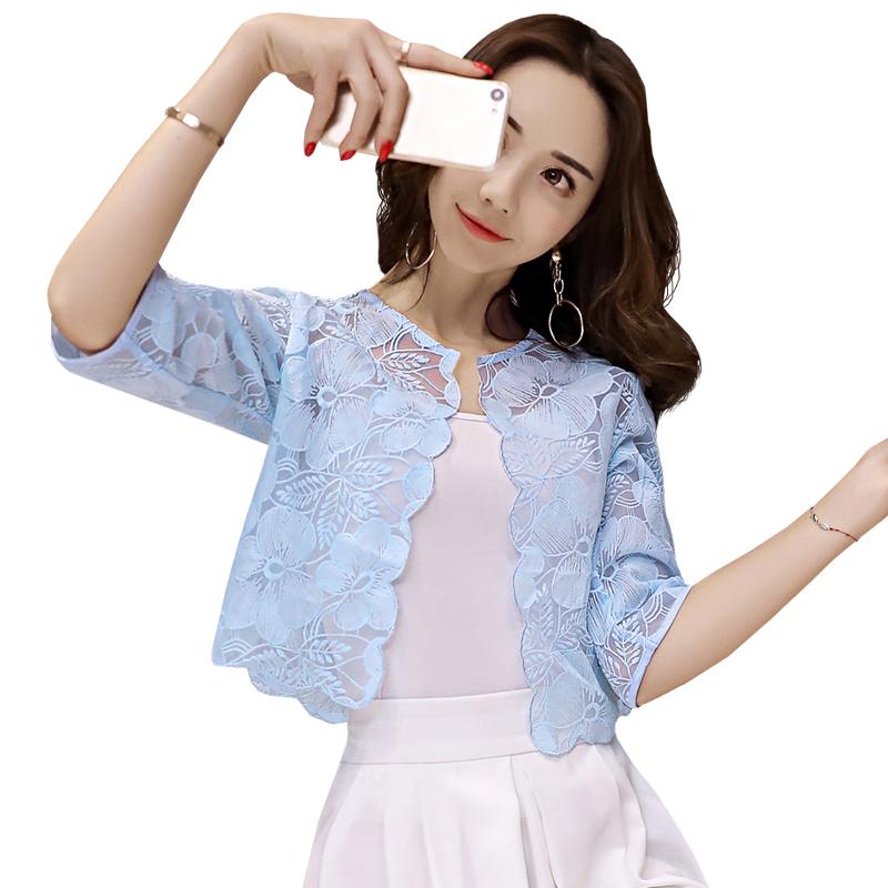 小披肩女夏季短外套配吊带裙子的蕾丝坎肩百搭薄款防晒衣外搭开衫