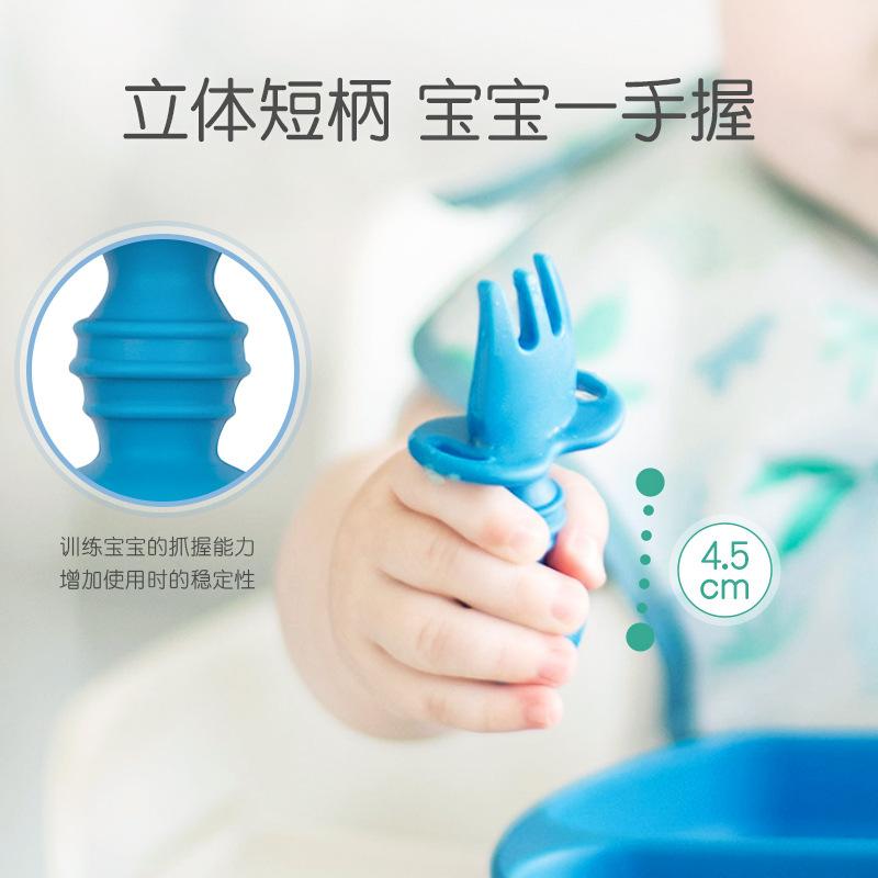 美国Bumkins儿童硅胶叉勺套装宝宝喂养餐具婴儿辅食勺子叉子用品