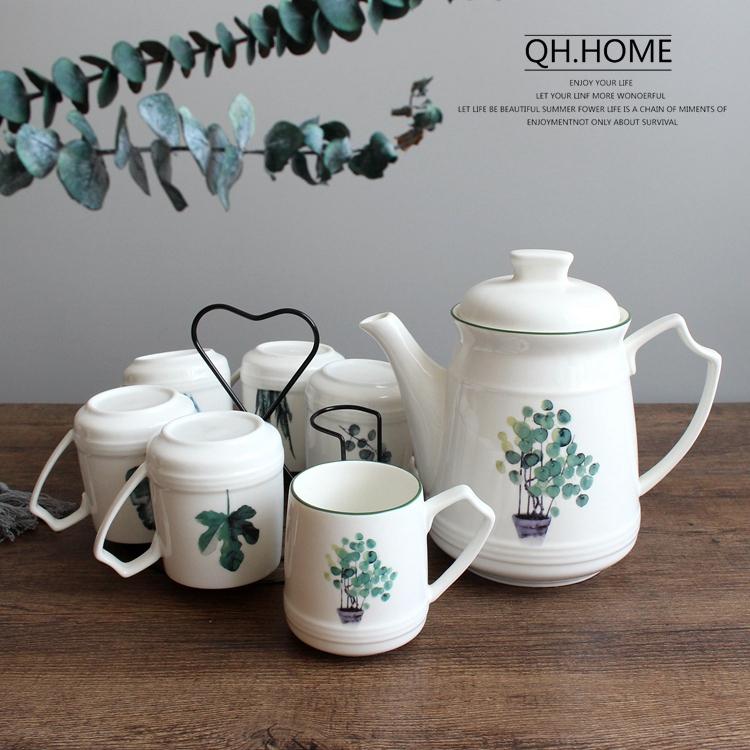 北歐綠植陶瓷水壺套裝耐高溫茶水壺咖啡壺大號冷水壺家用水具套裝