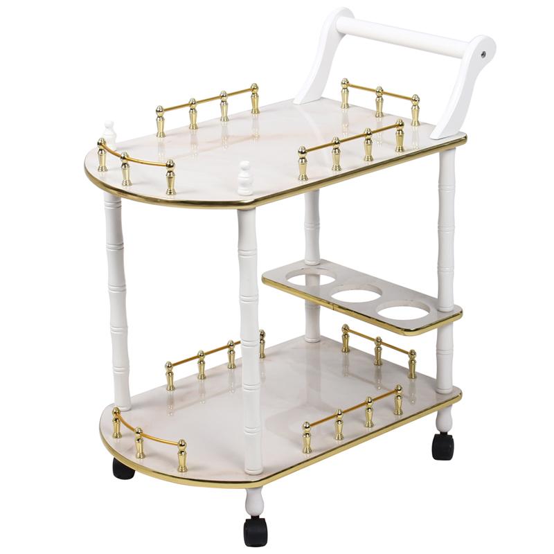 木质欧式小气泡仪器置物架美容院小推车木美发工具车移动美甲桌子