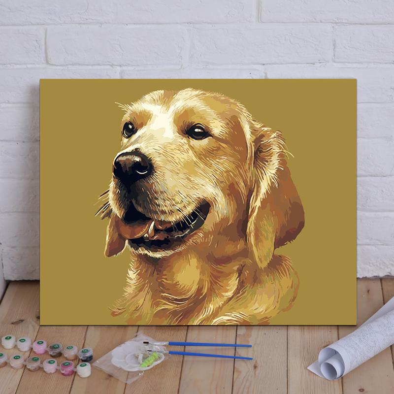 diy數字油畫客廳風景人物花卉兒童動漫填色手繪大幅裝飾畫 狗系列