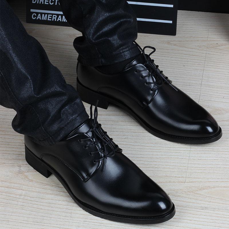 青年正裝皮鞋男夏季學生西裝黑色增高英倫韓版商務男鞋尖頭休閒鞋