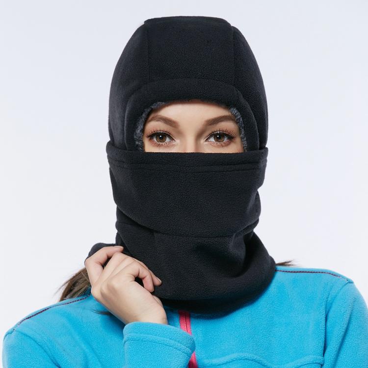戶外抓絨帽子冬加厚運動滑雪保暖頭套面罩圍脖騎車防風帽護臉男女