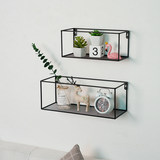 Nordic iron art wall shelf wall hanging simple creative bookshelf partition wall decoration shelf living room display stand