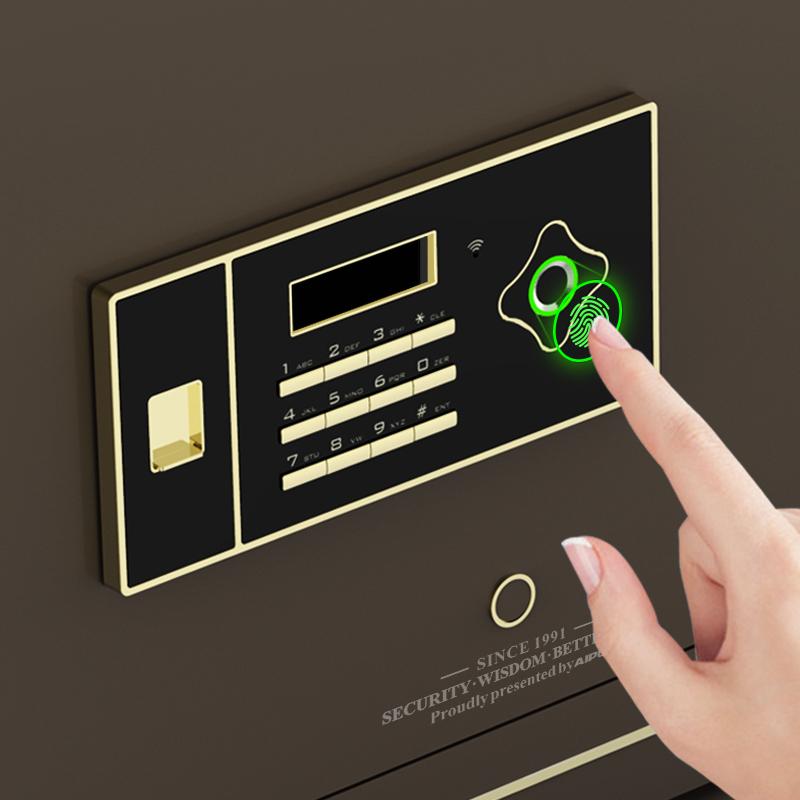 AIPU艾谱智能指纹保险箱家用办公国家3c认证WIFI小型灵睿系列30LRZW-45LRZW入墙全钢床头柜