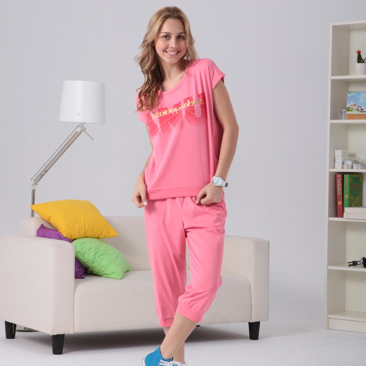 爱利奴新款夏季大码休闲套装女夏女款夏装女士运动短袖女装