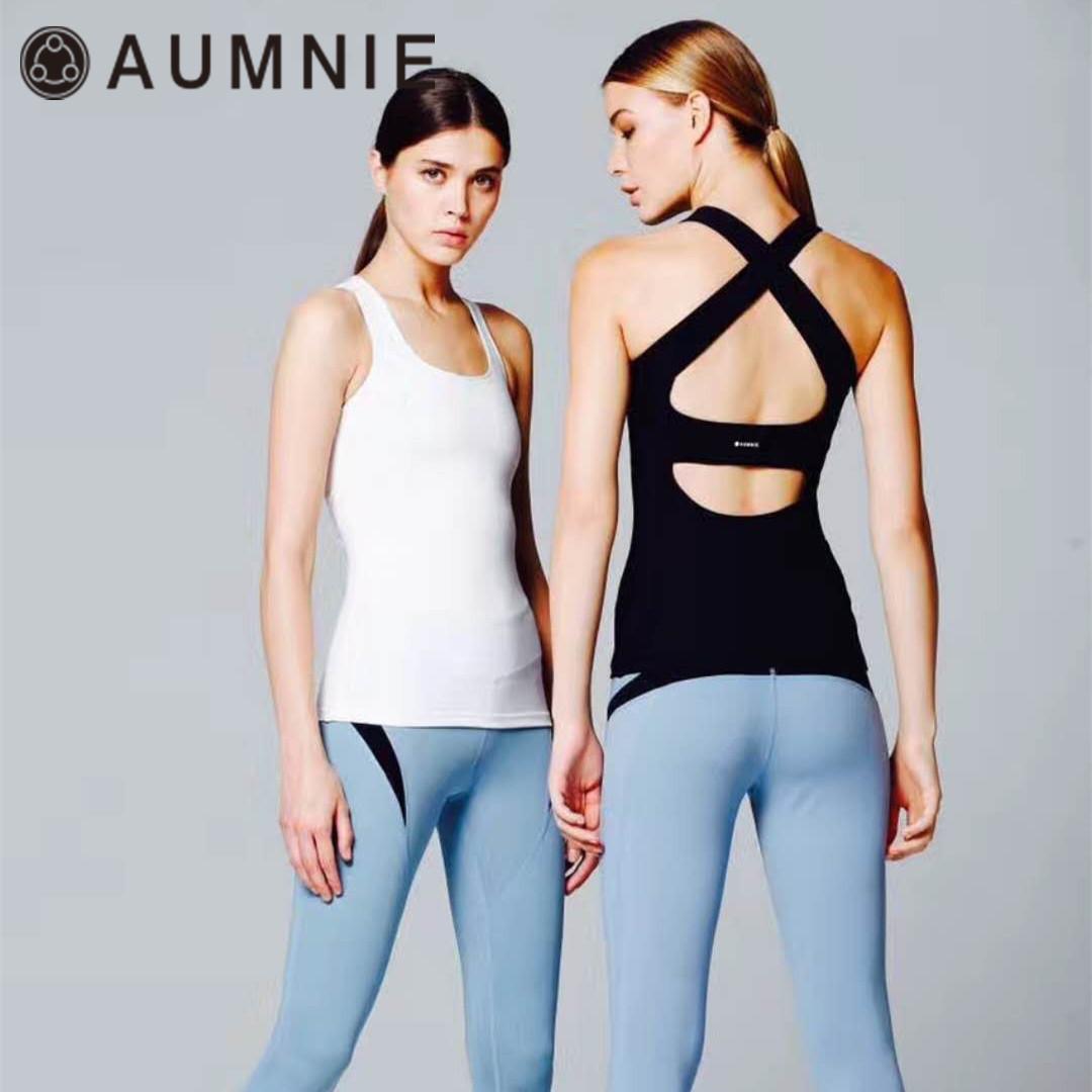 加拿大AUMNIE澳彌尼瑜伽服女顯瘦時尚修身運動健身上衣韻律背心