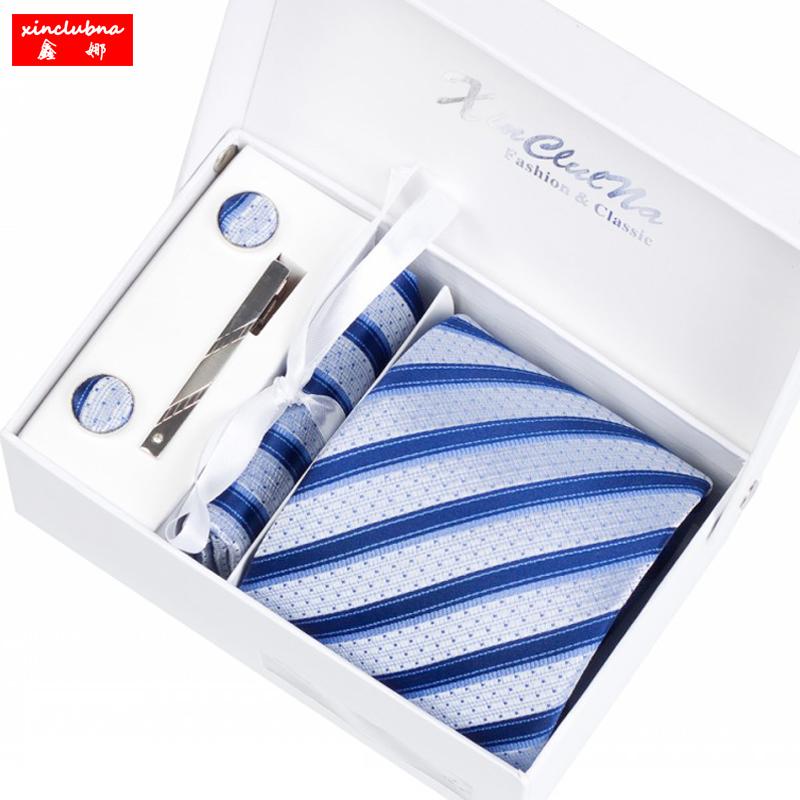 鑫娜六件套男士正装领带 条纹商务工作结婚百搭8cm韩版学生包邮