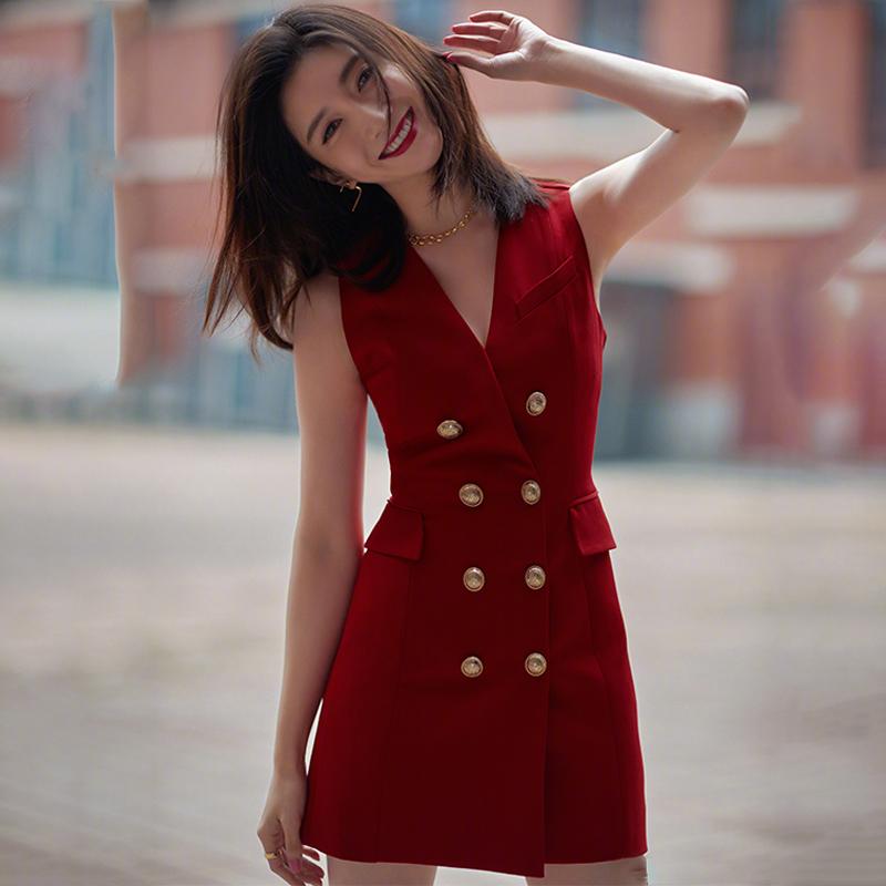 2020明星江疏影同款红色V领西装裙时尚显瘦双排金扣OL气质中长裙
