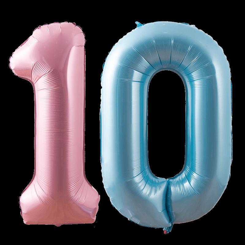 大号蓝粉亚光数字铝膜气球儿童生日派对装饰布置宝宝百天
