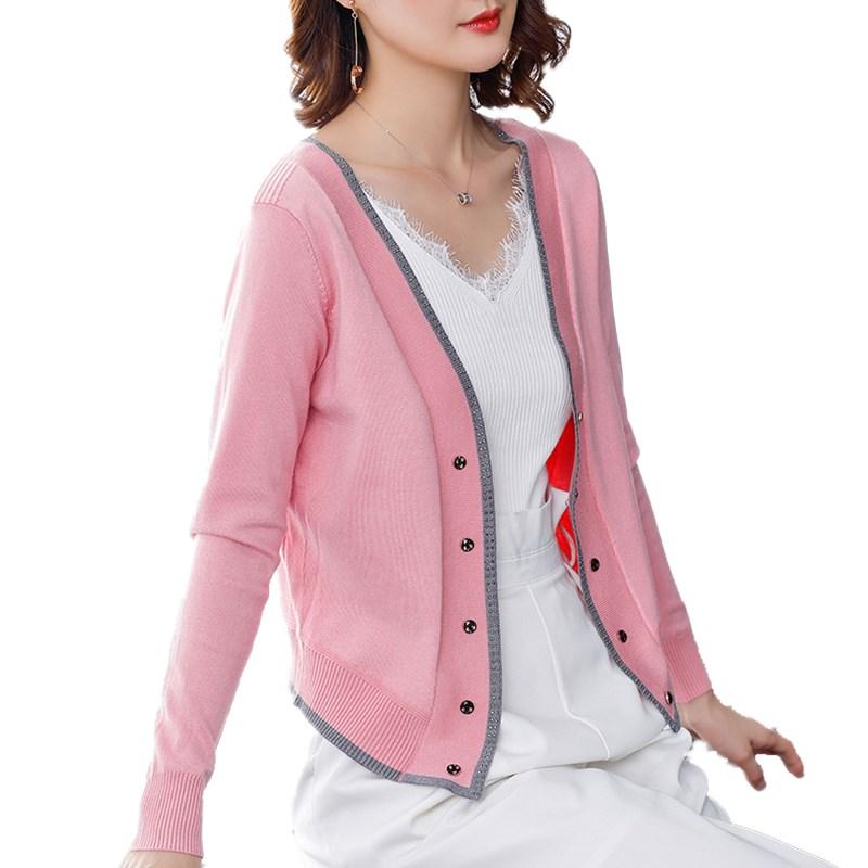 100%纯山羊绒衫女开衫2021春秋季洋气正品牌显瘦针织衫外套上衣潮主图