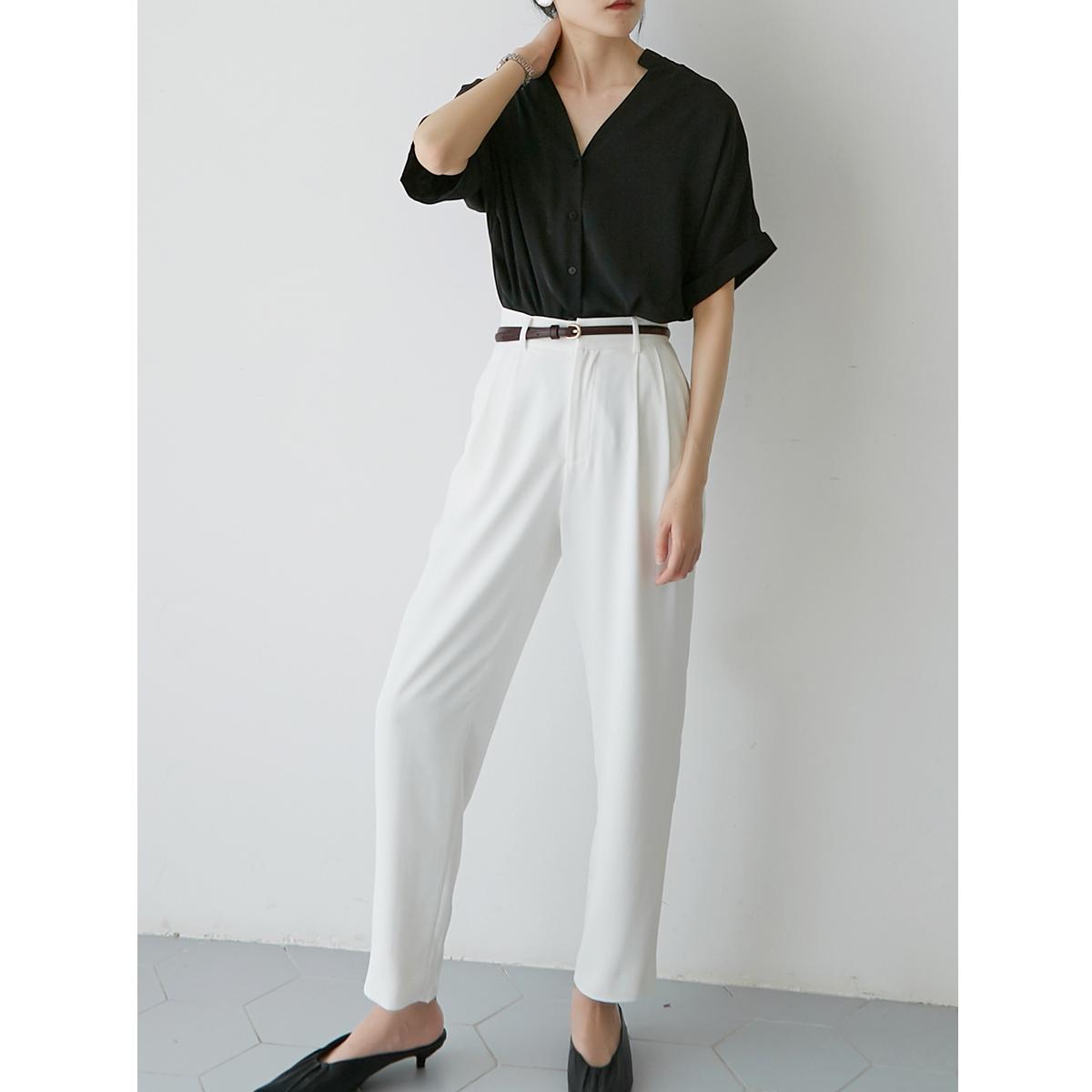 SS STUDIO 黑色v领短袖衬衫女设计感小众夏 垂感薄款宽松衬衣上衣主图