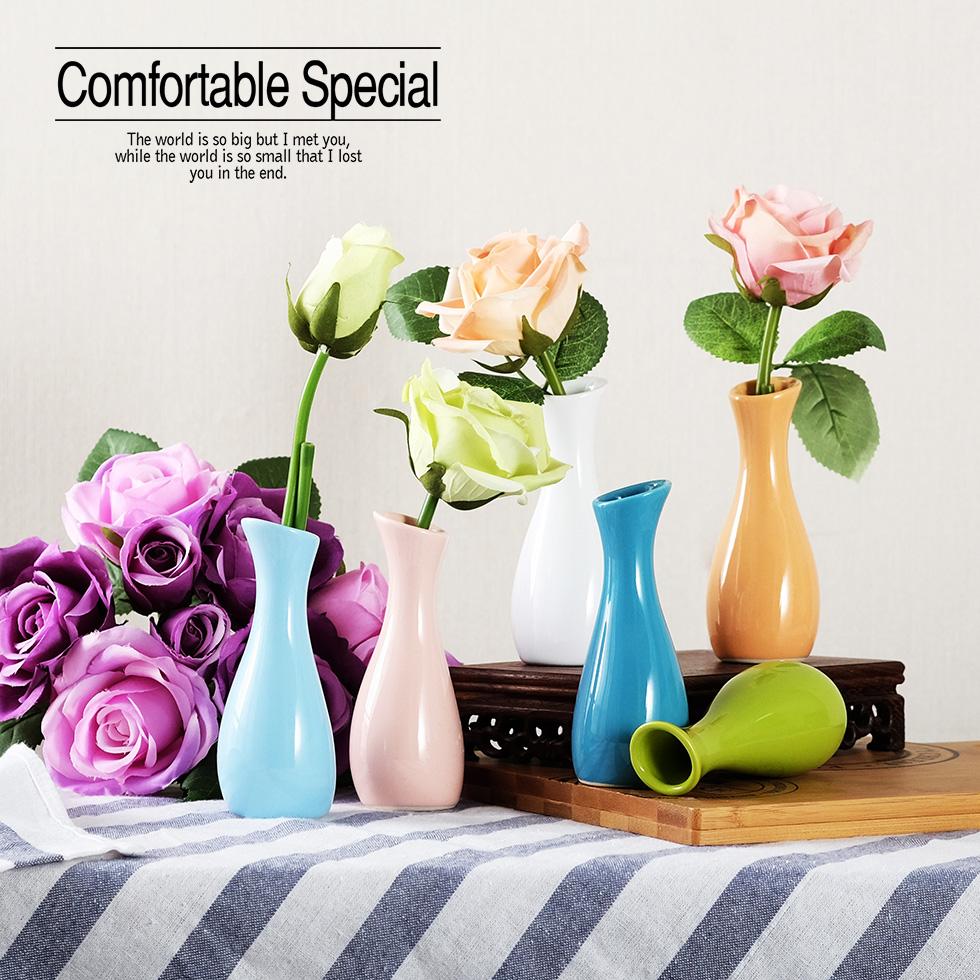 日式小清新簡約現代餐廳桌面茶几迷你單支玫瑰西式小陶瓷花瓶彩色