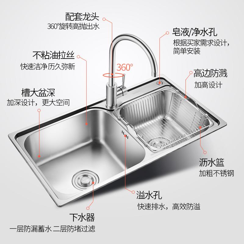 一体成型加厚 不锈钢双槽套餐厨房洗菜盆 304 不锈钢水槽 埃美柯