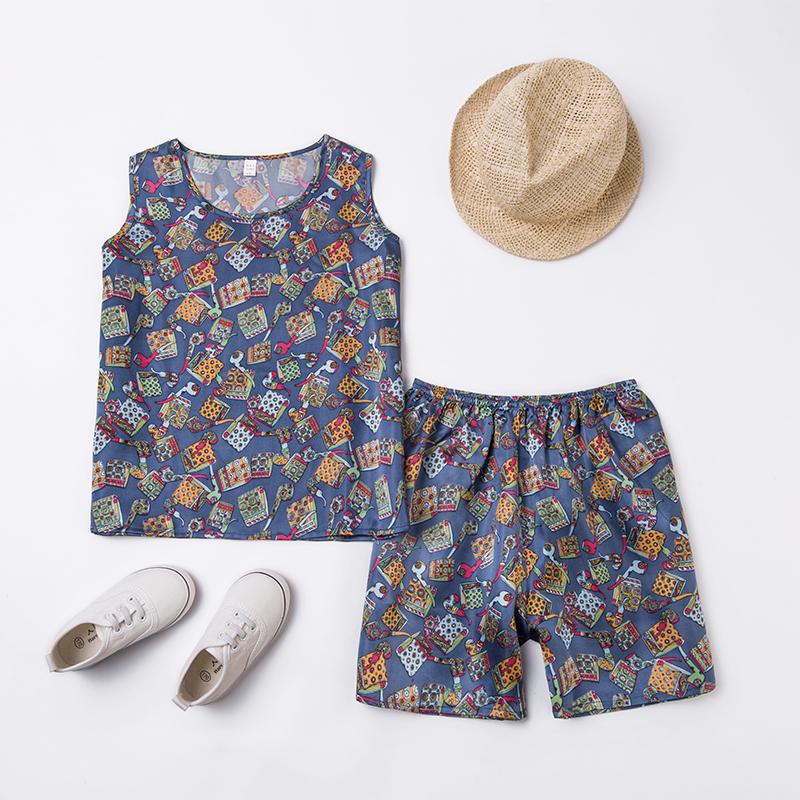 【清倉】大童真絲素縐緞套裝兒童夏裝韓版男童背心短褲女童兩件套
