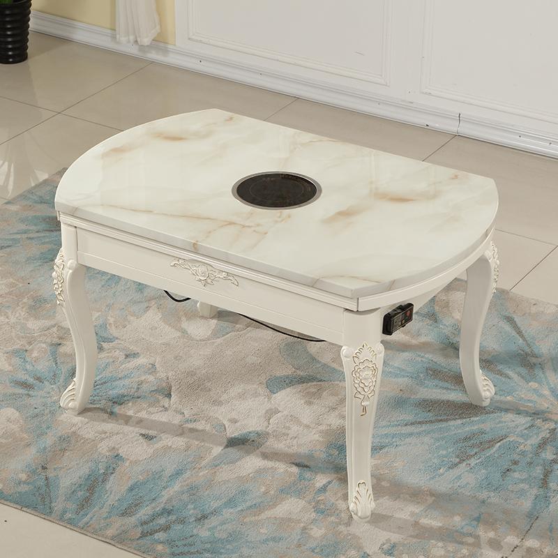 欧式餐桌椅组合小户型家用圆桌可伸缩折叠实木带电池炉大理石餐桌
